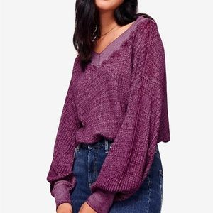 Free People Southside Thermal Pullover Top VIOLET